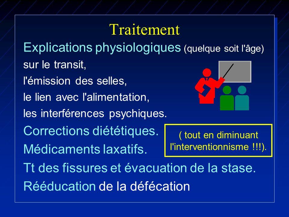 Traitement Explications physiologiques (quelque soit l'âge) sur le transit, l'émission des selles, le lien avec l'alimentation, les interférences psyc