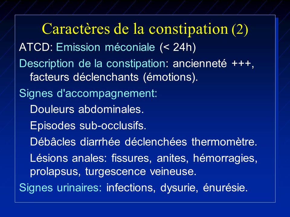 Caractères de la constipation (2) ATCD: Emission méconiale (< 24h) Description de la constipation: ancienneté +++, facteurs déclenchants (émotions). S