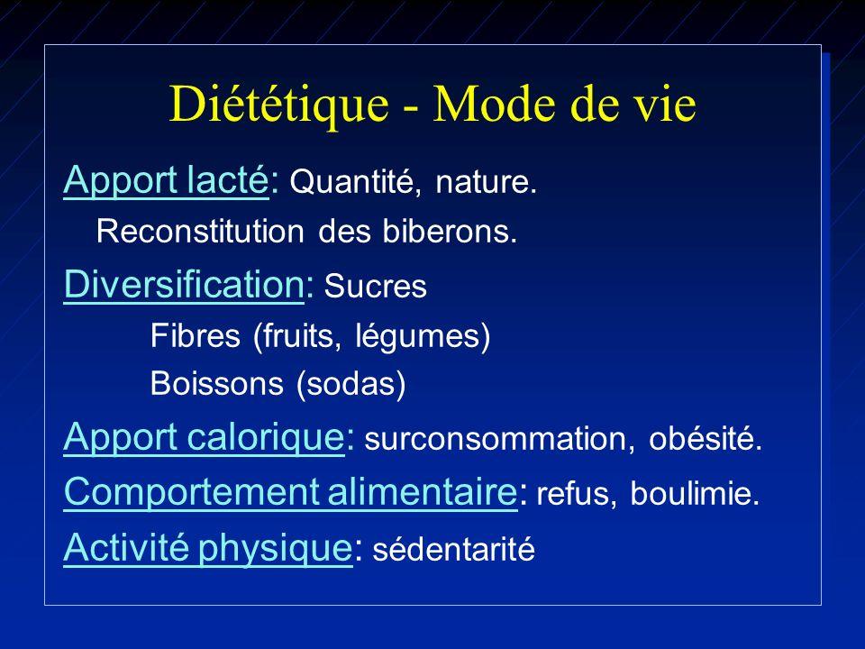 Diététique - Mode de vie Apport lacté: Quantité, nature. Reconstitution des biberons. Diversification: Sucres Fibres (fruits, légumes) Boissons (sodas