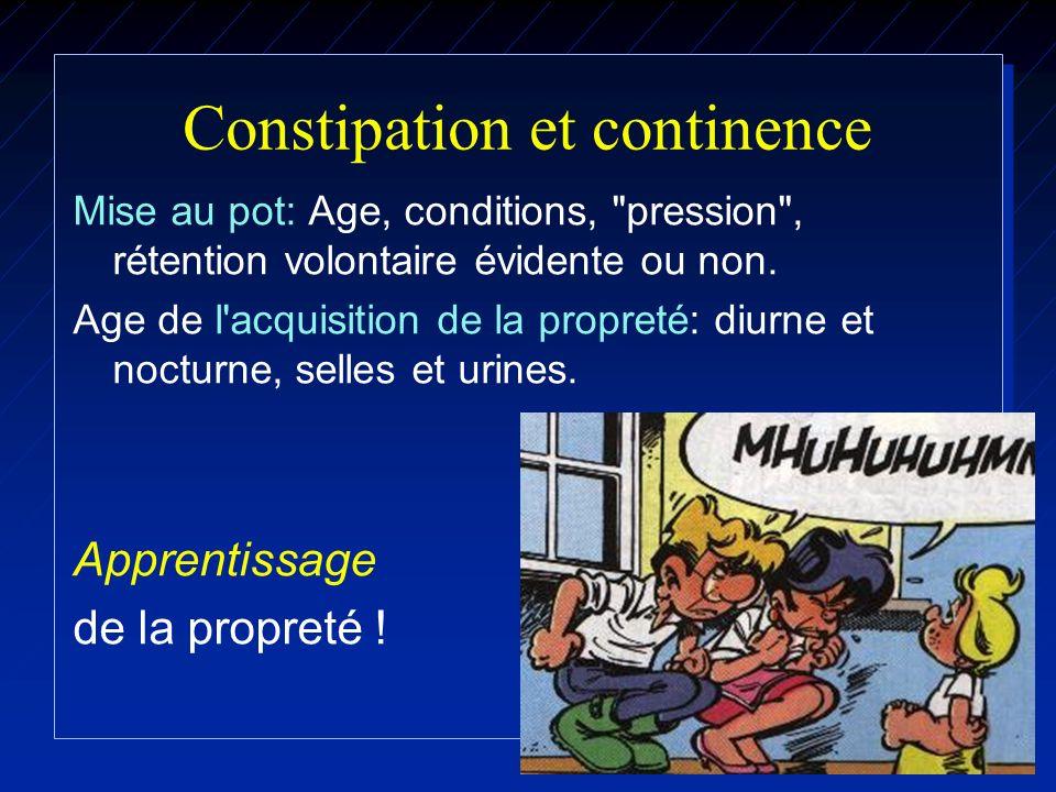 Constipation sévère: Ex compl éventuels Radiographies ASP: Face, debout Distension colique, fécalomes.