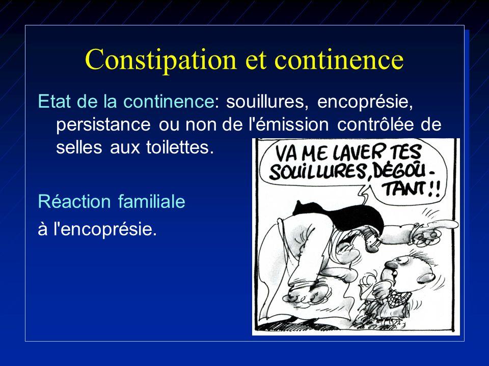 Constipation et continence Etat de la continence: souillures, encoprésie, persistance ou non de l'émission contrôlée de selles aux toilettes. Réaction