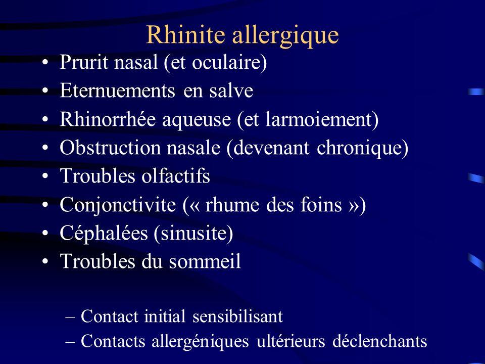 Rhinite allergique Prurit nasal (et oculaire) Eternuements en salve Rhinorrhée aqueuse (et larmoiement) Obstruction nasale (devenant chronique) Troubles olfactifs Conjonctivite (« rhume des foins ») Céphalées (sinusite) Troubles du sommeil –Contact initial sensibilisant –Contacts allergéniques ultérieurs déclenchants