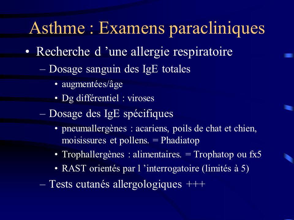 Asthme : Examens paracliniques Recherche d une allergie respiratoire –Dosage sanguin des IgE totales augmentées/âge Dg différentiel : viroses –Dosage des IgE spécifiques pneumallergènes : acariens, poils de chat et chien, moisissures et pollens.