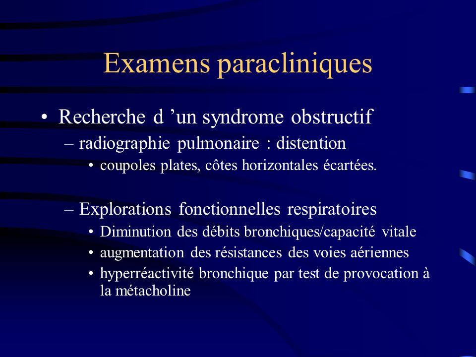 Examens paracliniques Recherche d un syndrome obstructif –radiographie pulmonaire : distention coupoles plates, côtes horizontales écartées.