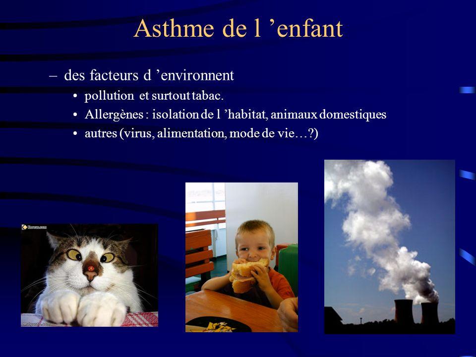 Asthme : physiopathologie Rôle du Système Neurologique Autonome –Cholinergique : exagération des réflexes –Adrénergique : hyporéactivité –NANC : rôle non élucidé.
