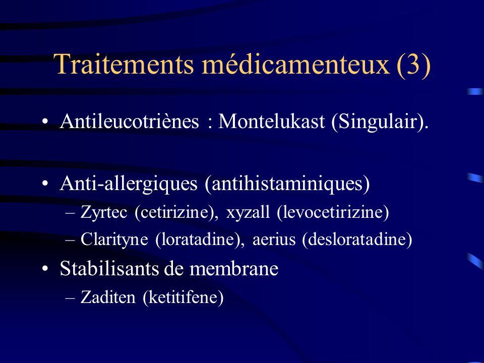 Traitements médicamenteux (3) Antileucotriènes : Montelukast (Singulair).