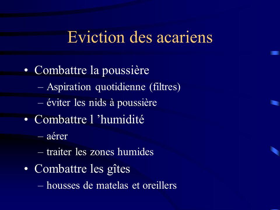 Eviction des acariens Combattre la poussière –Aspiration quotidienne (filtres) –éviter les nids à poussière Combattre l humidité –aérer –traiter les zones humides Combattre les gîtes –housses de matelas et oreillers