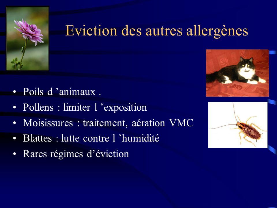 Eviction des autres allergènes Poils d animaux.