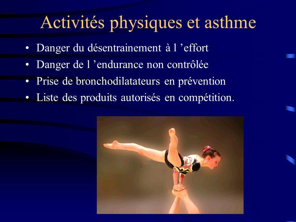 Activités physiques et asthme Danger du désentrainement à l effort Danger de l endurance non contrôlée Prise de bronchodilatateurs en prévention Liste des produits autorisés en compétition.