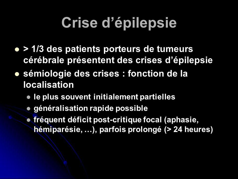Crise dépilepsie > 1/3 des patients porteurs de tumeurs cérébrale présentent des crises dépilepsie sémiologie des crises : fonction de la localisation