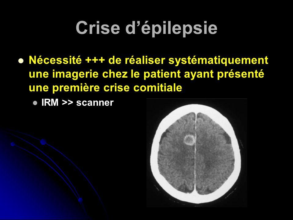 Crise dépilepsie Nécessité +++ de réaliser systématiquement une imagerie chez le patient ayant présenté une première crise comitiale IRM >> scanner