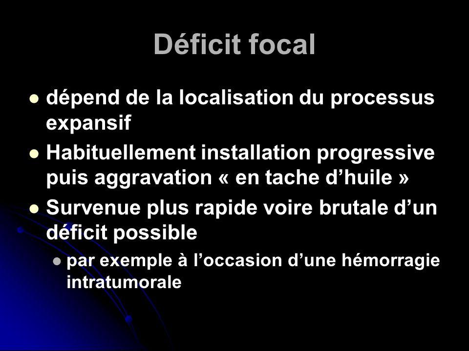 Déficit focal dépend de la localisation du processus expansif Habituellement installation progressive puis aggravation « en tache dhuile » Survenue pl