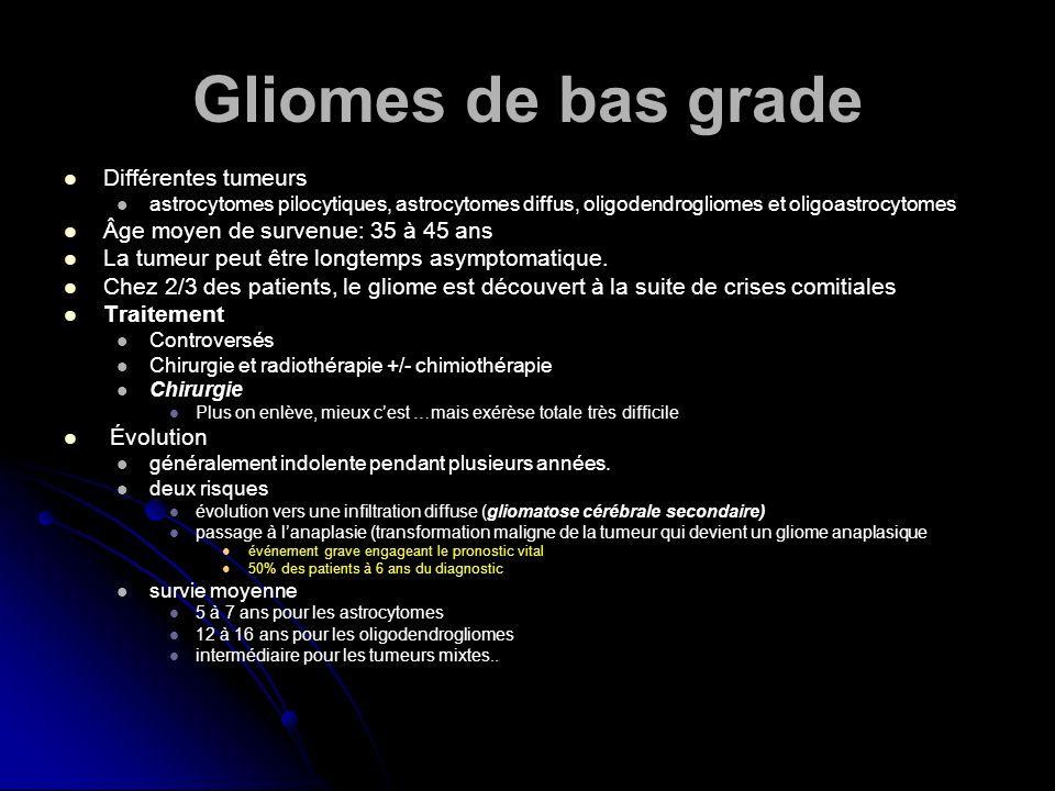 Gliomes de bas grade Différentes tumeurs astrocytomes pilocytiques, astrocytomes diffus, oligodendrogliomes et oligoastrocytomes Âge moyen de survenue
