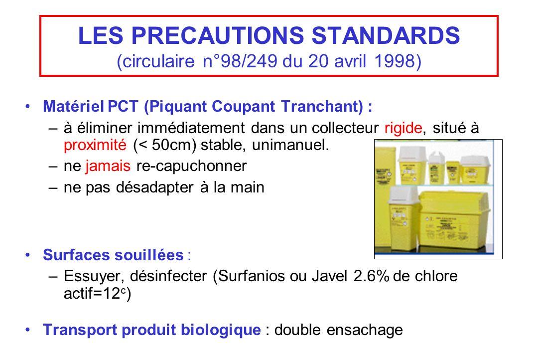 LES PRECAUTIONS STANDARDS (circulaire n°98/249 du 20 avril 1998) Matériel PCT (Piquant Coupant Tranchant) : –à éliminer immédiatement dans un collecte