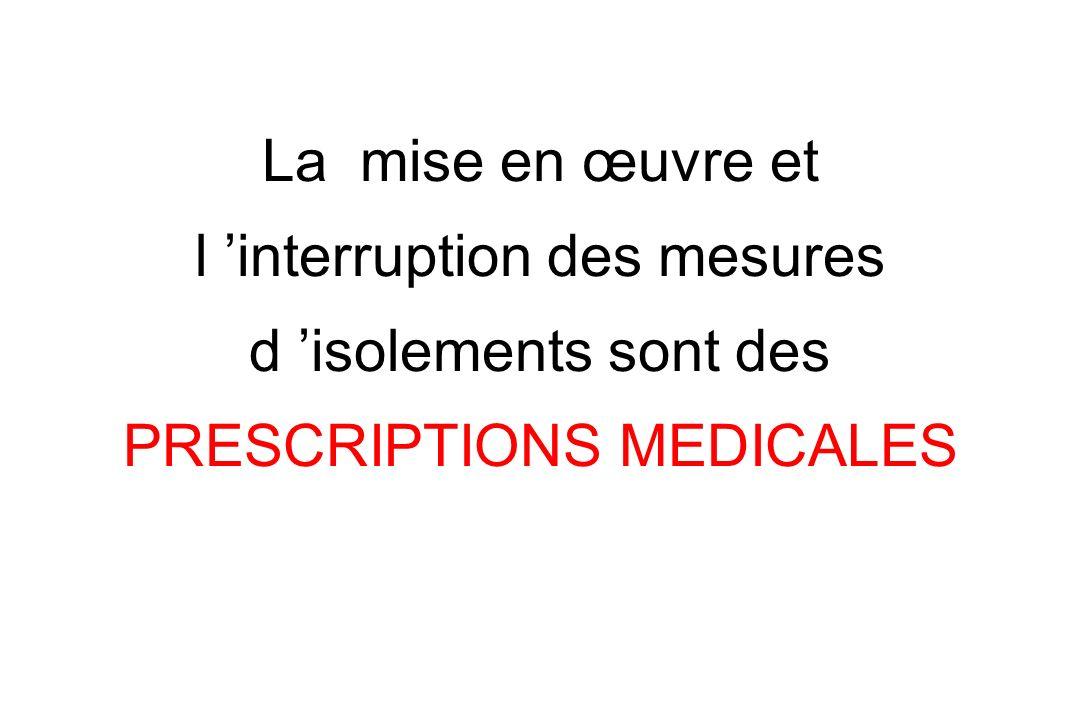 La mise en œuvre et l interruption des mesures d isolements sont des PRESCRIPTIONS MEDICALES