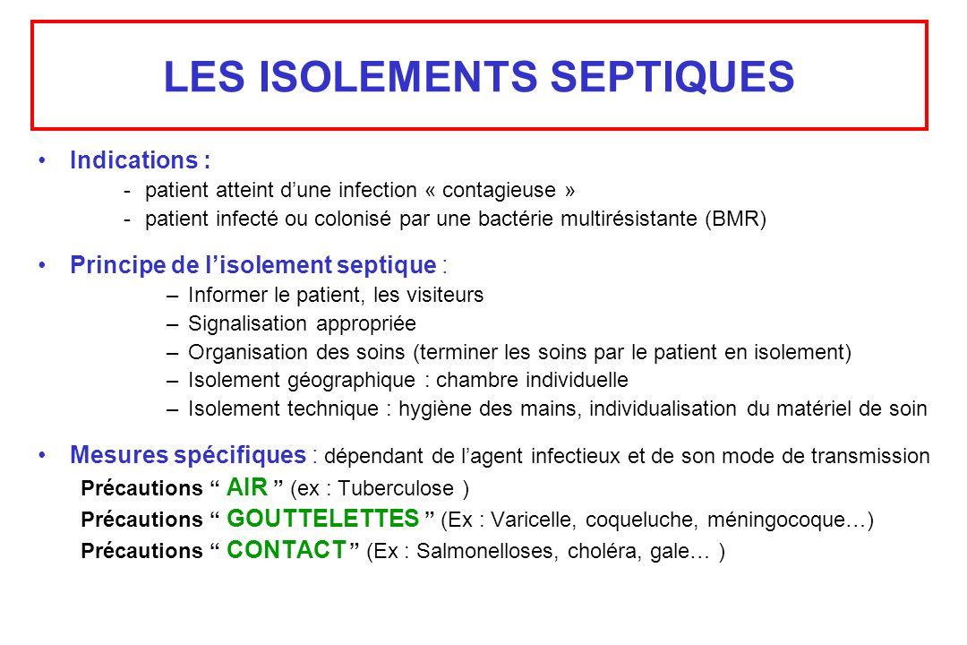 LES ISOLEMENTS SEPTIQUES Indications : -patient atteint dune infection « contagieuse » -patient infecté ou colonisé par une bactérie multirésistante (