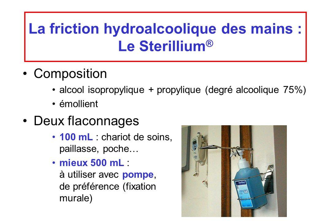 La friction hydroalcoolique des mains : Le Sterillium ® Composition alcool isopropylique + propylique (degré alcoolique 75%) émollient Deux flaconnage