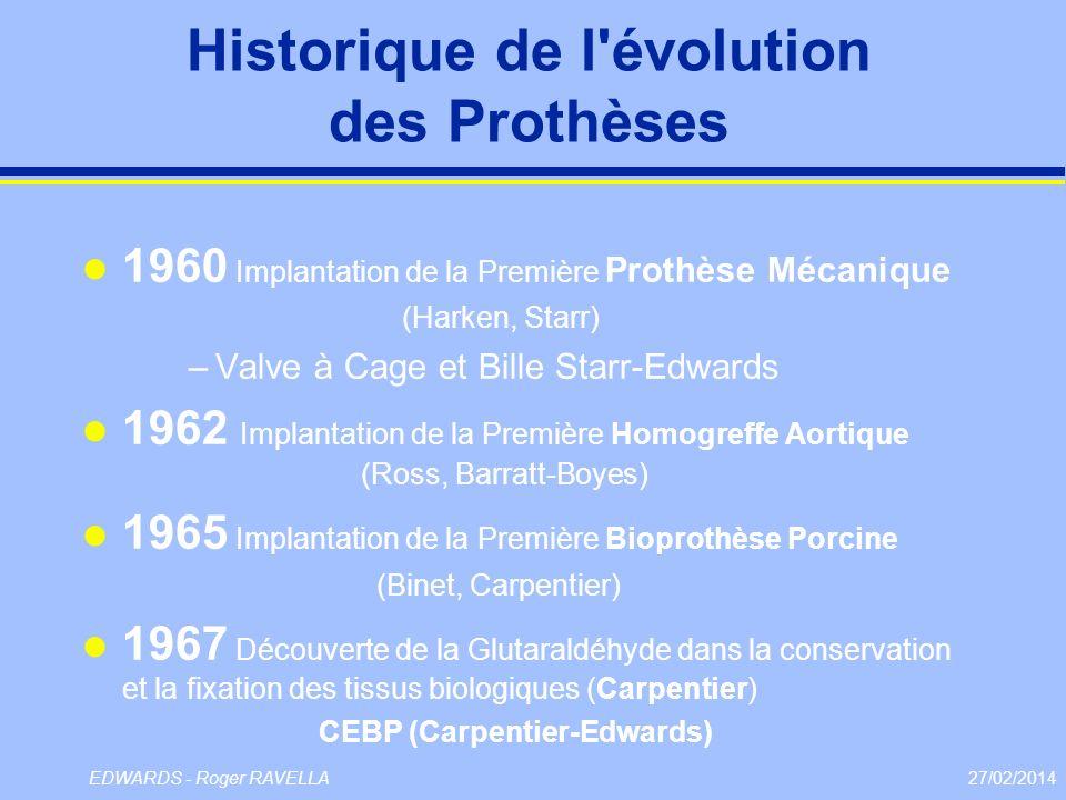 27/02/2014EDWARDS - Roger RAVELLA Historique de l'évolution des Prothèses l 1960 Implantation de la Première Prothèse Mécanique (Harken, Starr) –Valve