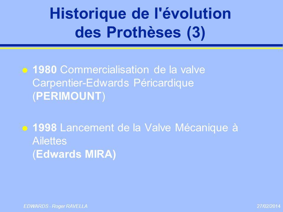 27/02/2014EDWARDS - Roger RAVELLA Historique de l'évolution des Prothèses (3) l 1980 Commercialisation de la valve Carpentier-Edwards Péricardique (PE