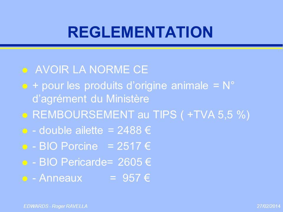 27/02/2014EDWARDS - Roger RAVELLA REGLEMENTATION l AVOIR LA NORME CE l + pour les produits dorigine animale = N° dagrément du Ministère l REMBOURSEMEN