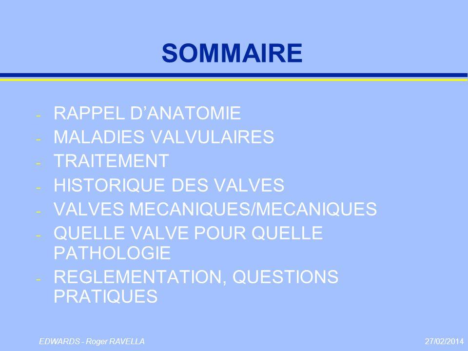 27/02/2014EDWARDS - Roger RAVELLA SOMMAIRE - RAPPEL DANATOMIE - MALADIES VALVULAIRES - TRAITEMENT - HISTORIQUE DES VALVES - VALVES MECANIQUES/MECANIQU
