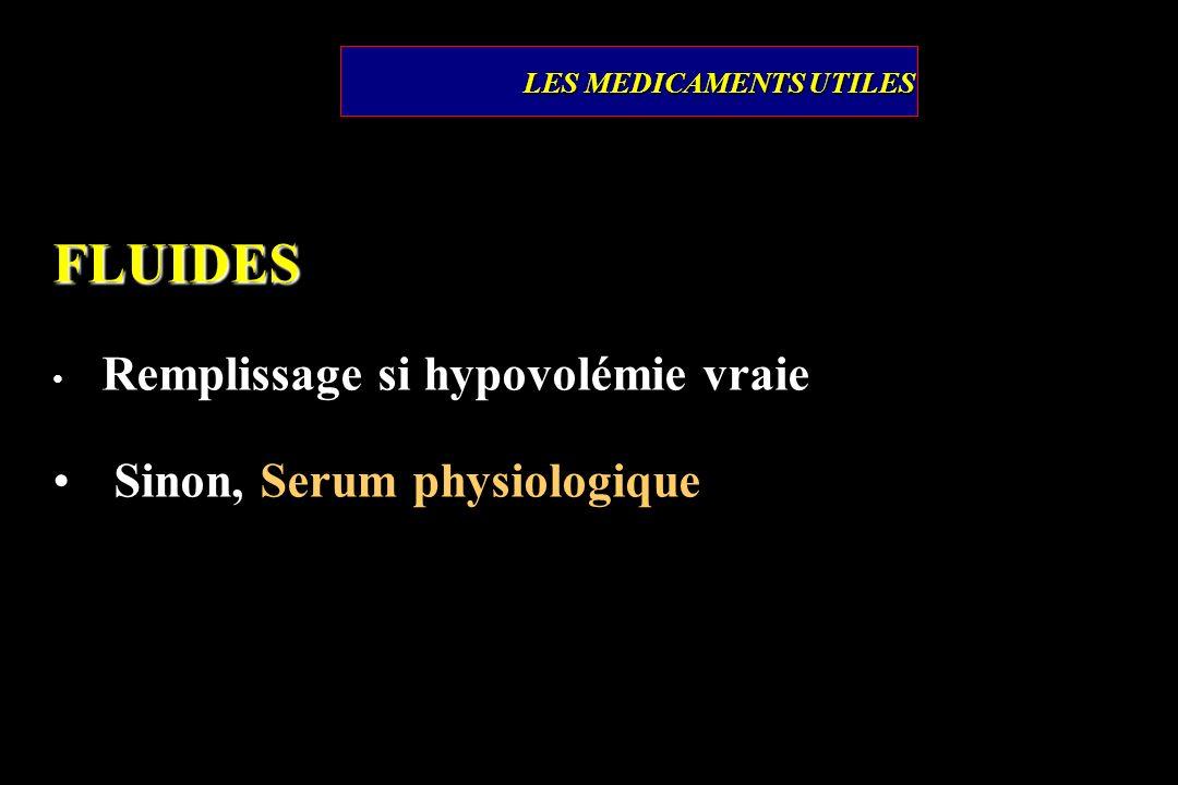 LES MEDICAMENTS UTILES FLUIDES Remplissage si hypovolémie vraie Sinon, Serum physiologique