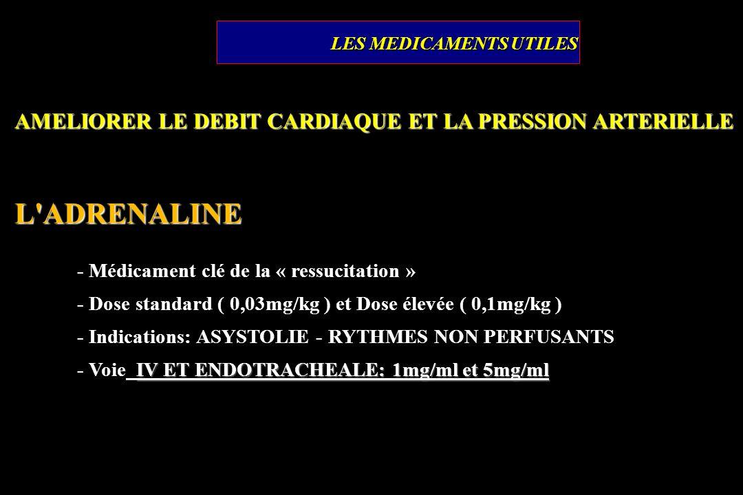 AMELIORER LE DEBIT CARDIAQUE ET LA PRESSION ARTERIELLE L'ADRENALINE - Médicament clé de la « ressucitation » - Dose standard ( 0,03mg/kg ) et Dose éle