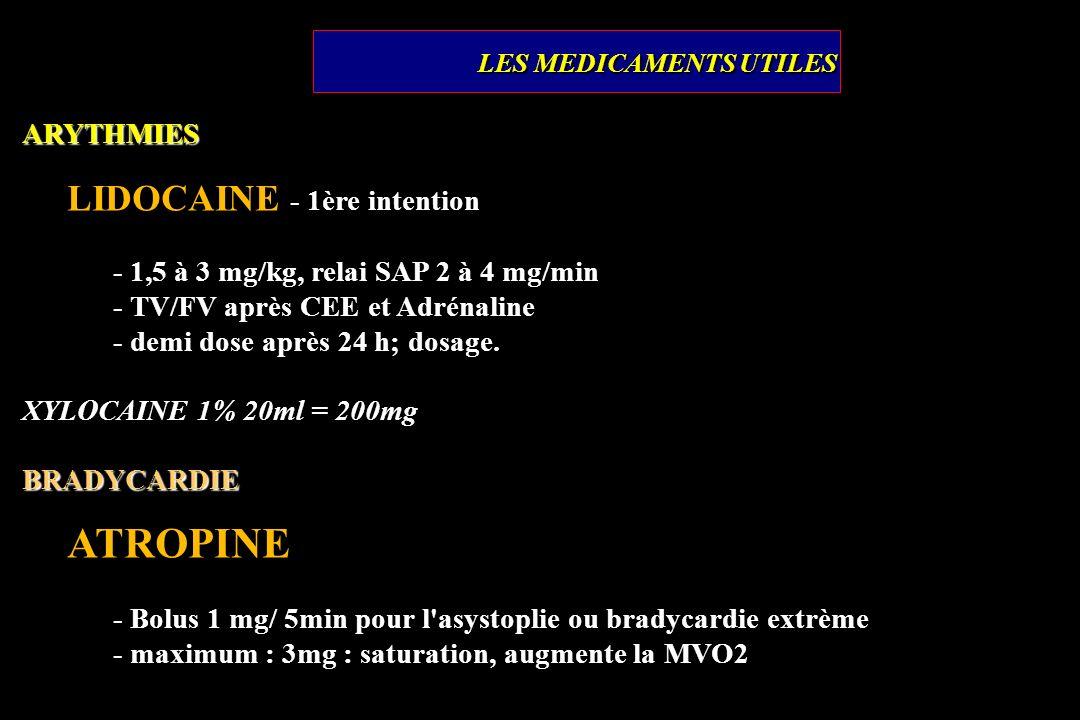 ARYTHMIES LIDOCAINE - 1ère intention - 1,5 à 3 mg/kg, relai SAP 2 à 4 mg/min - TV/FV après CEE et Adrénaline - demi dose après 24 h; dosage. XYLOCAINE