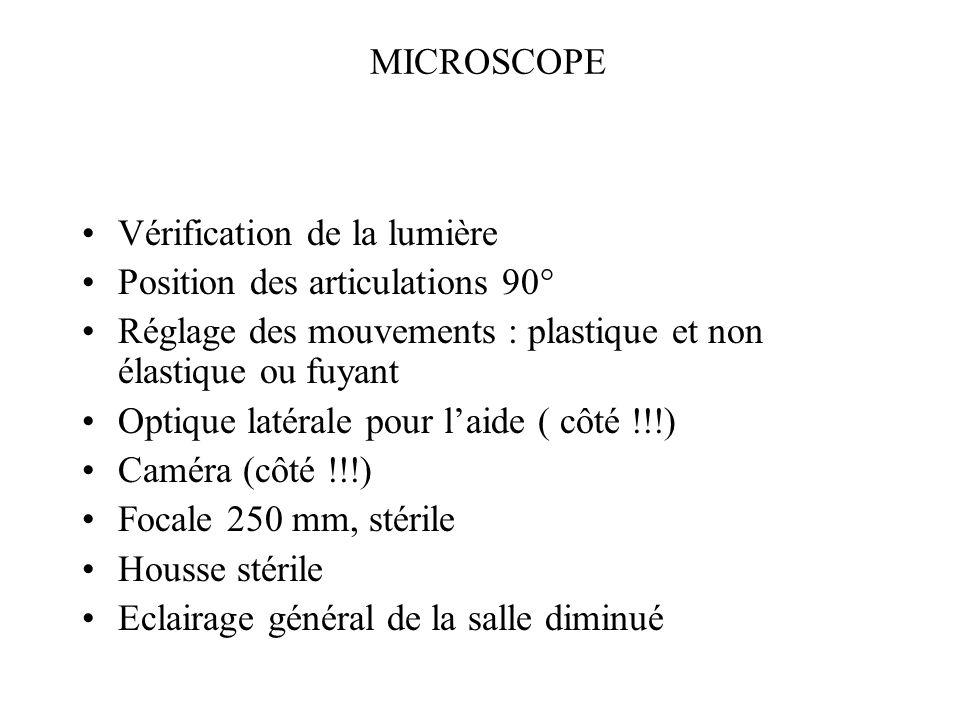 MICROSCOPE Vérification de la lumière Position des articulations 90° Réglage des mouvements : plastique et non élastique ou fuyant Optique latérale po