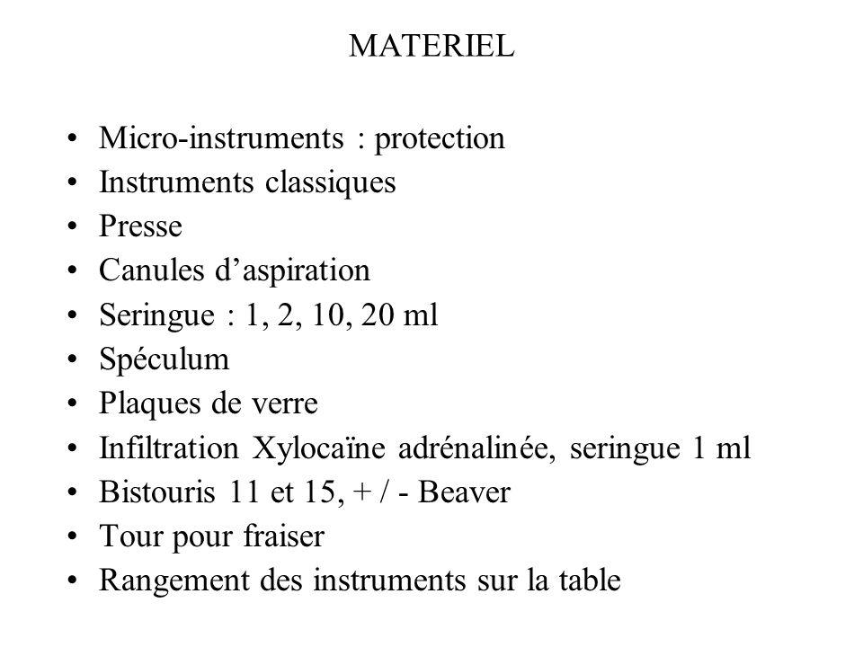 MATERIEL Micro-instruments : protection Instruments classiques Presse Canules daspiration Seringue : 1, 2, 10, 20 ml Spéculum Plaques de verre Infiltr
