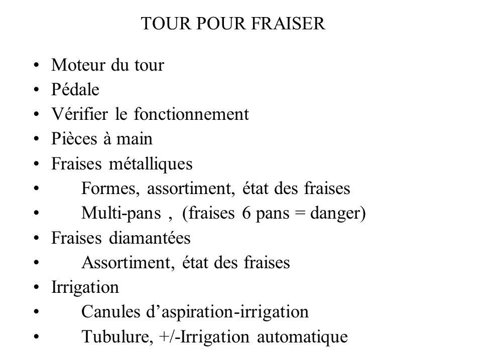 TOUR POUR FRAISER Moteur du tour Pédale Vérifier le fonctionnement Pièces à main Fraises métalliques Formes, assortiment, état des fraises Multi-pans,