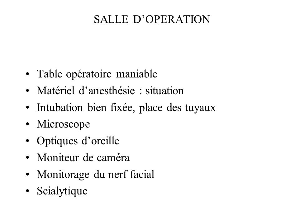 SALLE DOPERATION Table opératoire maniable Matériel danesthésie : situation Intubation bien fixée, place des tuyaux Microscope Optiques doreille Monit