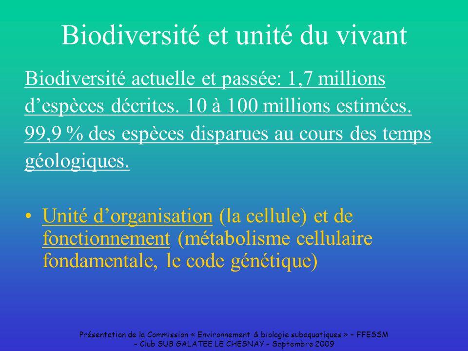 Présentation de la Commission « Environnement & biologie subaquatiques » – FFESSM – Club SUB GALATEE LE CHESNAY – Septembre 2009 Biodiversité et unité