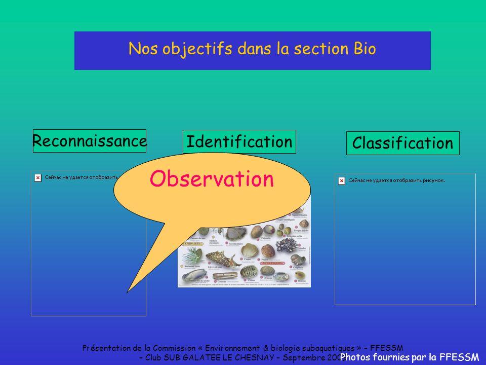 Présentation de la Commission « Environnement & biologie subaquatiques » – FFESSM – Club SUB GALATEE LE CHESNAY – Septembre 2009 Nos objectifs dans la