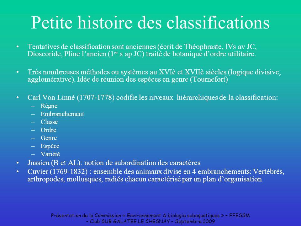 Présentation de la Commission « Environnement & biologie subaquatiques » – FFESSM – Club SUB GALATEE LE CHESNAY – Septembre 2009 Petite histoire des c