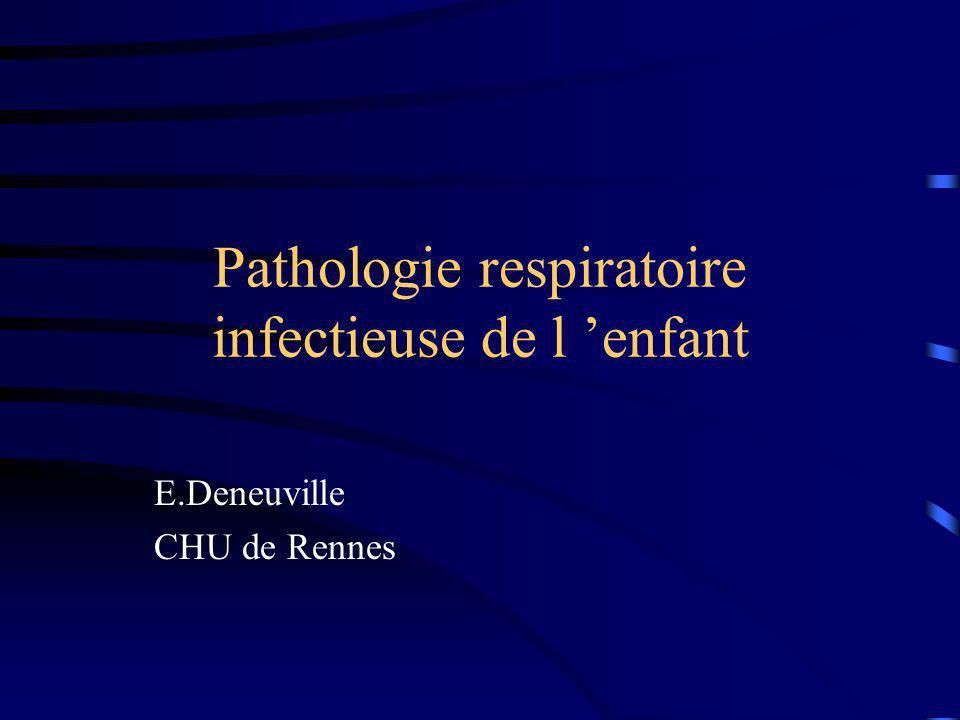 Pathologie respiratoire infectieuse de l enfant E.Deneuville CHU de Rennes