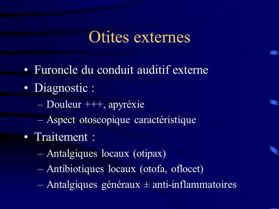 Otites externes Furoncle du conduit auditif externe Diagnostic : –Douleur +++, apyréxie –Aspect otoscopique caractéristique Traitement : –Antalgiques