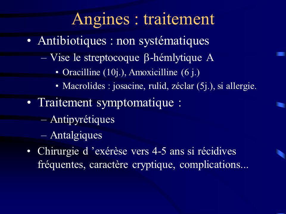 Angines : traitement Antibiotiques : non systématiques –Vise le streptocoque -hémlytique A Oracilline (10j.), Amoxicilline (6 j.) Macrolides : josacin