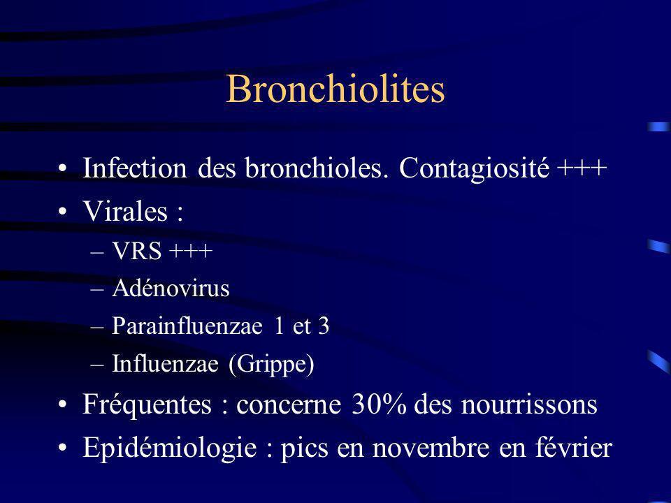 Bronchiolites Infection des bronchioles. Contagiosité +++ Virales : –VRS +++ –Adénovirus –Parainfluenzae 1 et 3 –Influenzae (Grippe) Fréquentes : conc