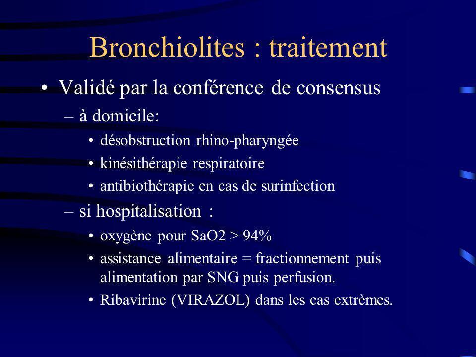 Bronchiolites : traitement Validé par la conférence de consensus –à domicile: désobstruction rhino-pharyngée kinésithérapie respiratoire antibiothérap