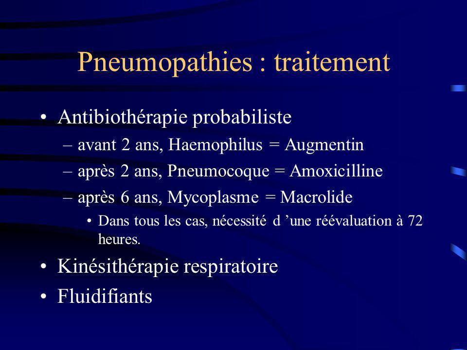 Pneumopathies : traitement Antibiothérapie probabiliste –avant 2 ans, Haemophilus = Augmentin –après 2 ans, Pneumocoque = Amoxicilline –après 6 ans, M
