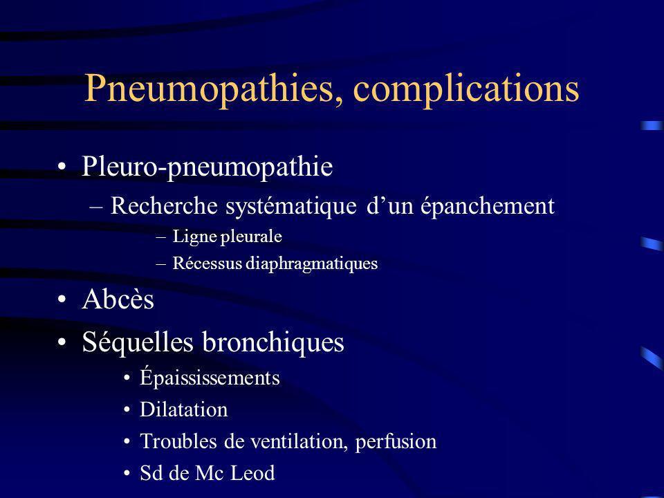 Pneumopathies, complications Pleuro-pneumopathie –Recherche systématique dun épanchement –Ligne pleurale –Récessus diaphragmatiques Abcès Séquelles br