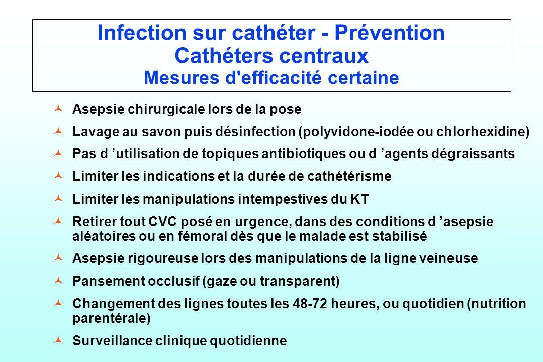Infection sur cathéter - Prévention Cathéters centraux Mesures d'efficacité certaine © ©Asepsie chirurgicale lors de la pose © ©Lavage au savon puis d