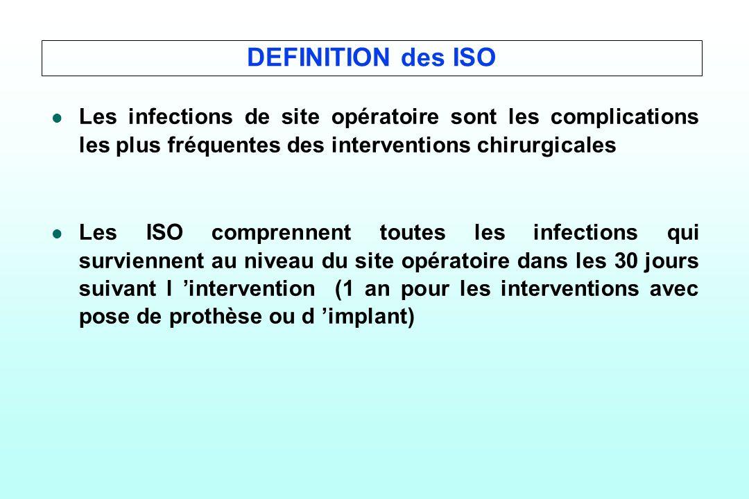 DEFINITION des ISO l l Les infections de site opératoire sont les complications les plus fréquentes des interventions chirurgicales l l Les ISO compre
