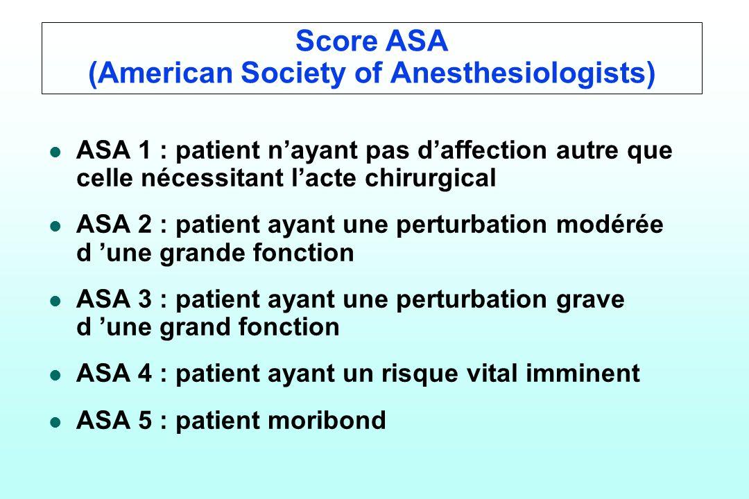 Score ASA (American Society of Anesthesiologists) l l ASA 1 : patient nayant pas daffection autre que celle nécessitant lacte chirurgical l l ASA 2 :