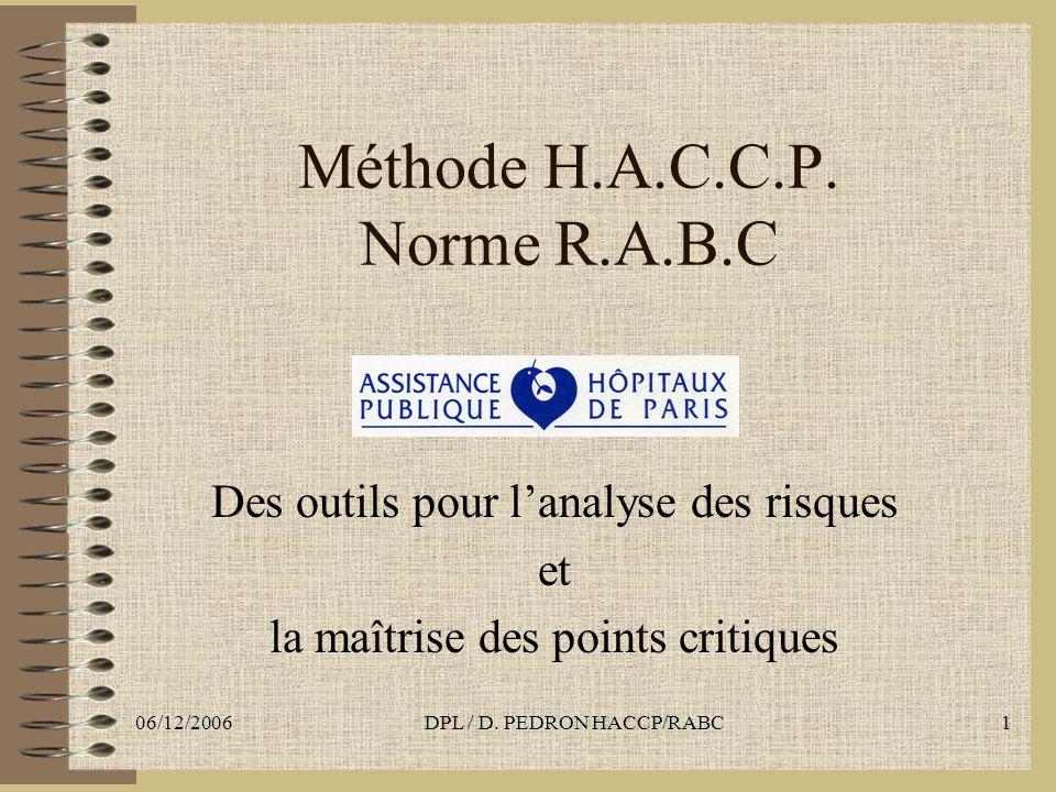 06/12/2006DPL / D. PEDRON HACCP/RABC1 Méthode H.A.C.C.P. Norme R.A.B.C Des outils pour lanalyse des risques et la maîtrise des points critiques