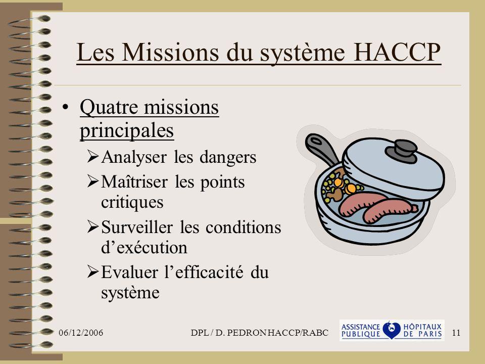 06/12/2006DPL / D. PEDRON HACCP/RABC11 Les Missions du système HACCP Quatre missions principales Analyser les dangers Maîtriser les points critiques S