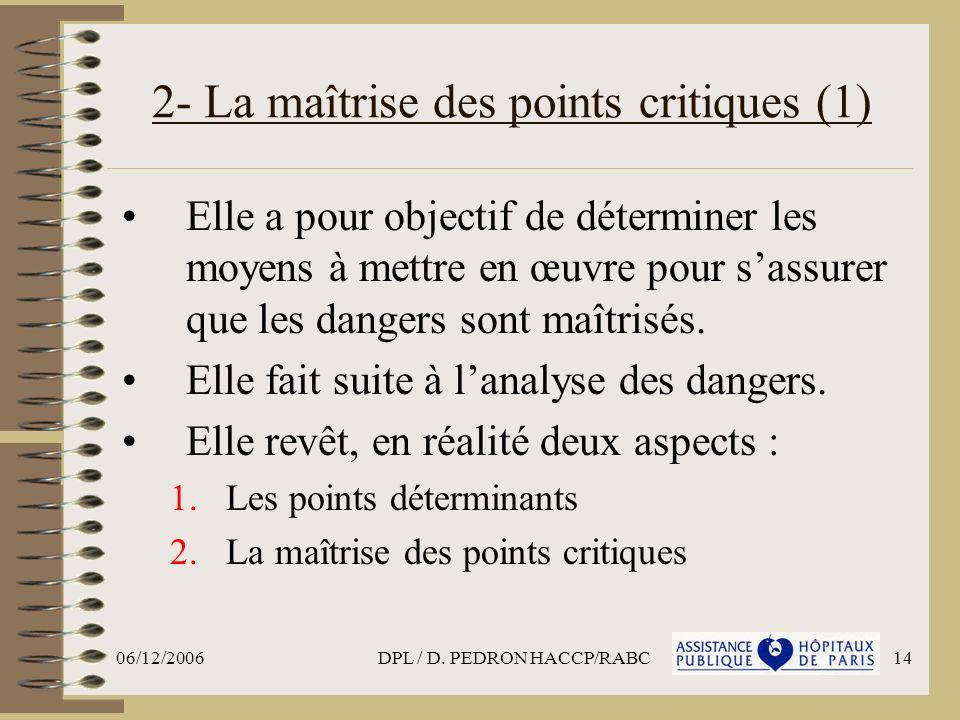 06/12/2006DPL / D. PEDRON HACCP/RABC14 2- La maîtrise des points critiques (1) Elle a pour objectif de déterminer les moyens à mettre en œuvre pour sa