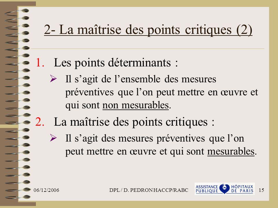 06/12/2006DPL / D. PEDRON HACCP/RABC15 2- La maîtrise des points critiques (2) 1.Les points déterminants : Il sagit de lensemble des mesures préventiv