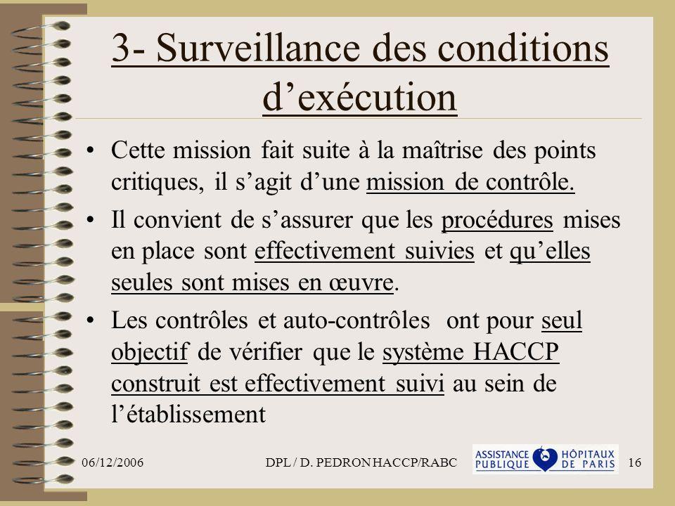 06/12/2006DPL / D. PEDRON HACCP/RABC16 3- Surveillance des conditions dexécution Cette mission fait suite à la maîtrise des points critiques, il sagit